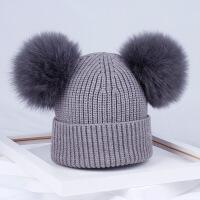 女士的毛线帽子时尚草双球狐狸毛球毛线帽保暖可爱甜美子帽女冬天时尚潮针织帽 灰色 弹性好(4岁到均可)