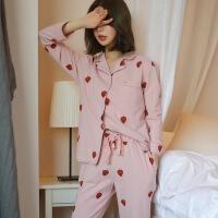日系小清新纯棉甜美睡衣女春秋冬可爱卡通草莓长袖外穿家居服套装