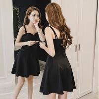 2018夏季新款韩版女V领性感吊带连衣裙修身无袖性感赫本a字小黑裙 黑色