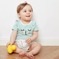 婴儿短袖T恤女婴可爱圆领上衣夏装宝宝花边袖打底衫