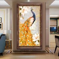 玄关竖版富贵图孔雀砖石画客厅十字绣