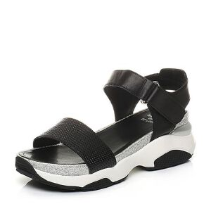 Tata/他她2017夏季专柜同款时尚压花小牛皮坡跟女皮凉鞋FN905BL7