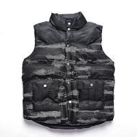 马甲男士秋冬季新工装迷彩加厚宽松男式坎肩外套立领潮流背心外套