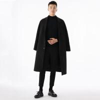 2018新款冬季加厚毛呢大衣男士长款韩版宽松过膝呢子外套妮子风衣