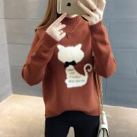 春装2018新款女潮半高领宽松时尚打底衫短款加厚套头女士毛衣学生
