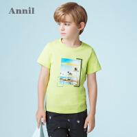 【2件35折:49】安奈儿童装男童圆领短袖T恤夏装新款全棉