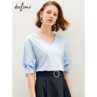 伊芙丽洋气小衫2019春装新款中袖气质衬衣蓝色宽松衬衫小上衣女
