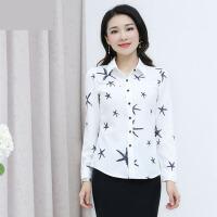 春款新款韩版印花长袖衬衫女白色衬衣修身大码衬衫春秋