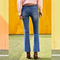 【一口价 99元】微喇牛仔裤女韩版新款时尚高腰裤子修身显瘦学生九分裤女