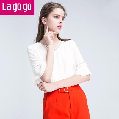 Lagogo2017年夏季新款时尚百搭V领纯色T恤喇叭袖上衣女短袖