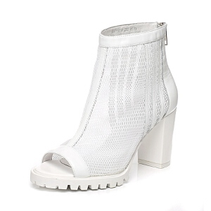 Belle/百丽春季专柜同款网布拼接露趾粗跟女凉鞋P9T1DAB6
