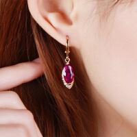 饰品耳环女 韩国气质长款仿红宝石简约时尚潮人网红耳饰耳坠