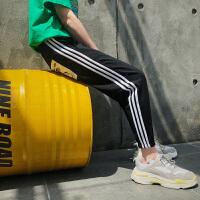 2018夏季新款运动裤男士韩版潮流三条杠休闲裤个性裤子宽松九分裤