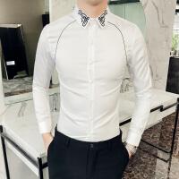 新品韩版衬衫男修身白色长袖寸衣青年潮流发型师春装英伦休闲衬衣