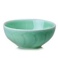 陶瓷故事 龙泉青瓷饭碗陶瓷碗餐具 莲花纹可爱精致饭碗 梅子青