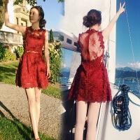 秋季名媛气质性感露背小礼服短裙重工勾花镂空红色蕾丝修身连衣裙 酒红色