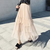 钉珠纱裙半身裙2018新款纱裙高腰a字钉珠长裙女蕾丝蓬蓬裙半身裙 均码