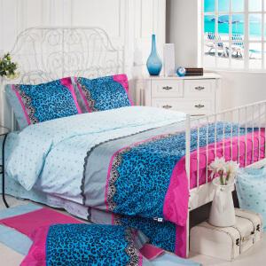 多喜爱家纺 床上用品 秋冬新品 蓝玫之夜 全棉抗菌四件套