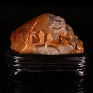 寿山石《青山访友山水摆件》天然结晶寿山石取巧全手工精雕摆件