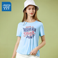 [秒杀价:47.6元,年货节限时抢购,仅限1.15-19]真维斯女装 2020春装新款 时尚圆领印花短袖T恤