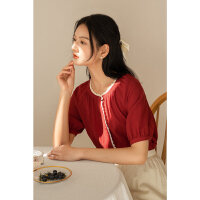 【2.5折到手价:119.75元】茵曼红色衬衫女复古2021年夏季新款泡泡袖花边五分袖圆领温柔上衣【1812671】