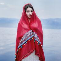 丝巾女夏沙漠度假旅游防晒披肩民族风茶卡盐湖围巾青海大红色纱巾
