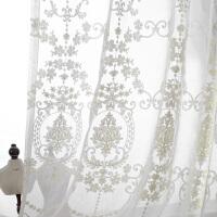 欧式刺绣白纱窗帘珍珠纱蕾丝绣花窗纱色客厅飘窗纱帘阳台纱
