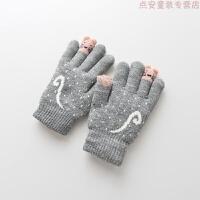 儿童手套秋冬季内加绒保暖男孩女孩子小孩五指小童宝宝手套 浅灰色 c5557内加绒2-6岁 建议2-6岁