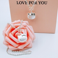 990纯银圆珠项链ty凯蒂猫锁骨链吊坠女儿童小孩生日礼物