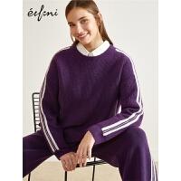 伊芙丽冬装新款韩版圆领长袖打底衫时尚休闲羊毛套头针织衫女