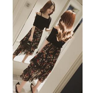 哆哆何伊2018春夏装新款露肩t恤+半身裙时尚两件套女神范矮个子时髦套装