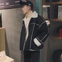 冬季潮男加绒加厚夹克韩版时尚翻领外套青少年羊羔毛内胆休闲外衣
