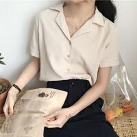 夏季新款�n版chic甜美�@瘦小清新西�b�I短袖�r衫女上衣雪�衫�r衣 均�a