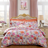 【年货直降】富安娜家纺 40S斜纹印花床上用品四件套1.5/1.8m床适用床单被套