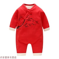 冬季一周岁宝宝衣服男童中国风汉服新生的儿连体哈衣婴儿中式复古唐装秋冬新款 红色