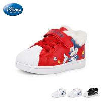 【159元任选2双】迪士尼Disney童鞋18冬季新款贝壳头板鞋俏皮米奇儿童绒毛运动鞋男童户外休闲鞋 (5-10岁可选