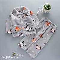 儿童睡衣男孩秋冬季法兰绒男童女童长袖珊瑚绒套装小孩宝宝家居服