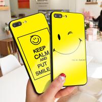 夏天笑脸新款苹果7plus手机壳镜面玻璃iphone8保护套X开心彩绘可爱XS MAX硬壳抢眼色6s创意潮牌7全包软边