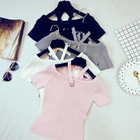 新款韩版女针织衫性感一字肩挂脖绑带纯色短袖T恤上衣E171