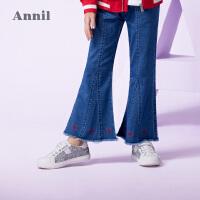 【3件3折:89.7】安奈儿童装女童时尚个性牛仔喇叭裤秋夏新款