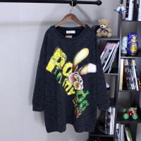 加肥大版宽松卡通卫衣大码女装T恤中长款200-300斤胖mm遮肚打底衫 加肥加大码