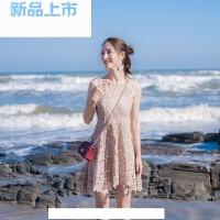 2018夏季女装修身显瘦无袖露肩性感吊带小礼服蕾丝连衣裙裙子