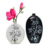 创意陶瓷摆件时尚客厅酒柜家居装饰品工艺品现代简约黑白花瓶