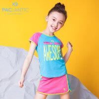 派克兰帝童装女童套装2018夏季新款运动休闲套装女童运动时尚套装