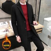 红色毛呢大衣秋季男士中长款加厚呢子外套青年韩版潮修身纯色风衣