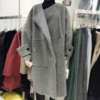 韩版舒适保暖显瘦皮毛一体正反两穿外套叁