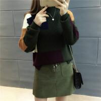 半高领毛衣女春装套头短款拼色针织衫宽松加厚女士长袖打底衫毛衣 均码