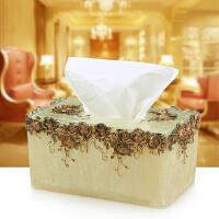 纸巾盒欧式树脂抽纸盒创意纸抽盒家用田园玫瑰纸巾筒