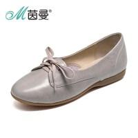 范玮琪同款茵曼女鞋春新品真皮低跟系带休闲单鞋486118044