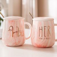 马克杯带盖勺个性情侣对杯创意陶瓷杯子